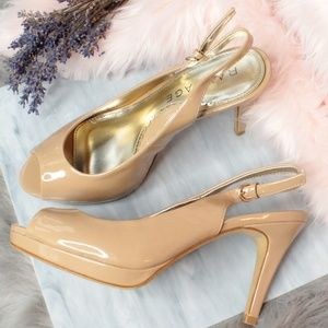 Nude/Tan Peep Toe Heels/Pumps/Shoes 7.5
